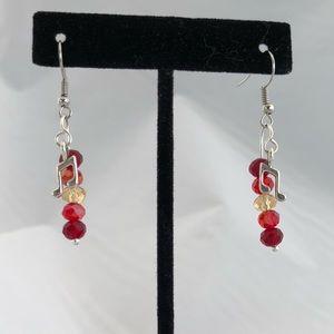 Handmade glass bead music note earrings